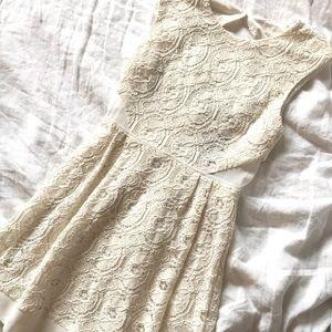 UO Creme Appliqué Dress w/ Crepe details